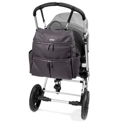 Skip Hop Flatiron Diaper Backpack on stroller