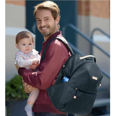 Dad with baby and Skip Hop Go Envi Eco-Friendly Diaper Backpack
