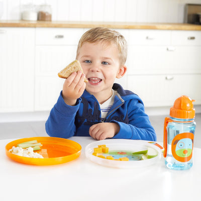 Boy eating on the Skip Hop Zoo Smart Serve Non-Slip Plates in Dog
