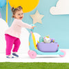 Little girl pushing the Skip Hop Zoo 3-In-1 Ride On Toy in Unicorn