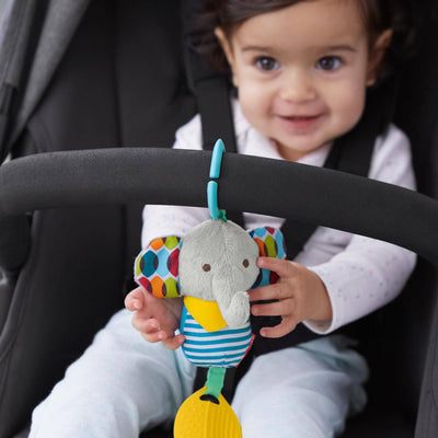 Skip Hop Banana Buddies Chime & Teethe Toy in Elephant attached to stroller