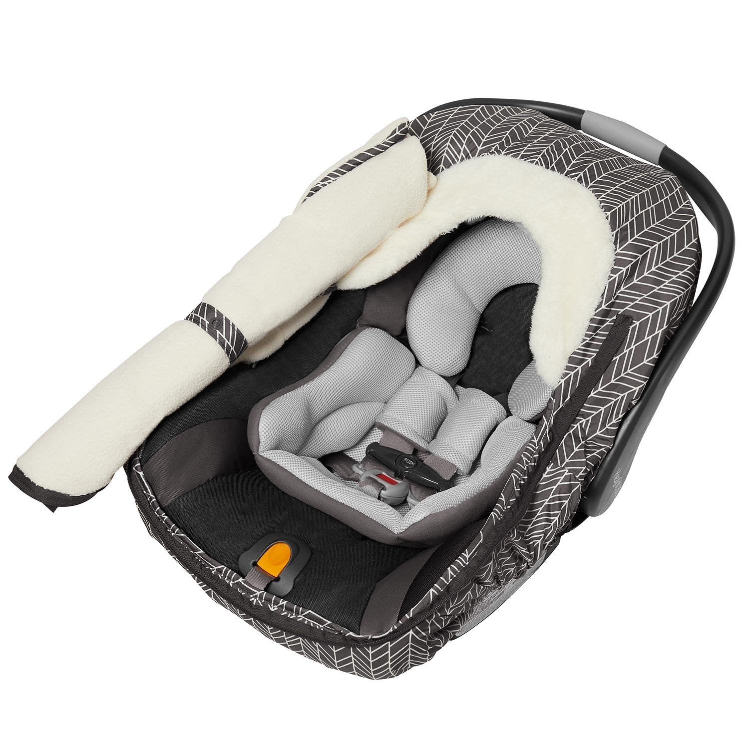 Skip Hop Stroll Go Car Seat Cover In Grey Feather Zipped Open