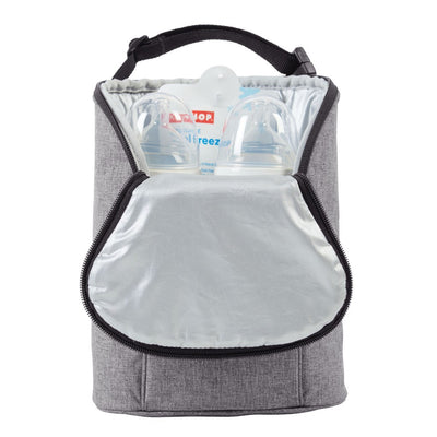 Skip Hop Grab & Go Double Bottle Bag in heather grey opened