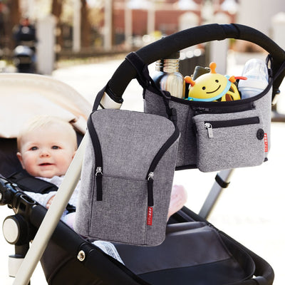 Skip Hop Grab & Go Double Bottle Bag in heather grey attached to stroller