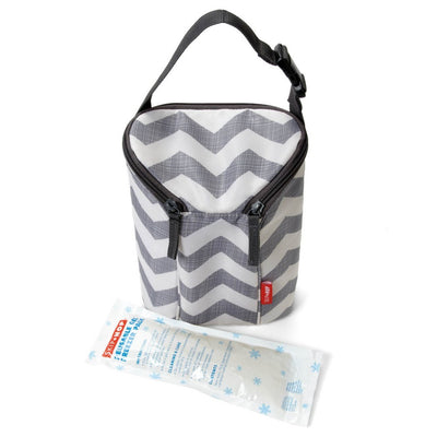 Skip Hop Grab & Go Double Bottle Bag in chevron with ice pack