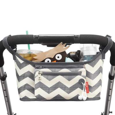 Skip Hop Grab & Go Stroller Organizer in Chevron attached to stroller