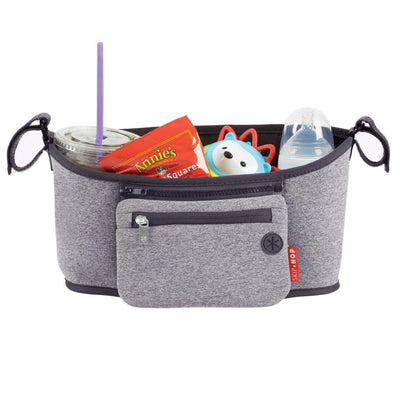 Skip Hop Grab & Go Stroller Organizer in Heather Grey with items inside
