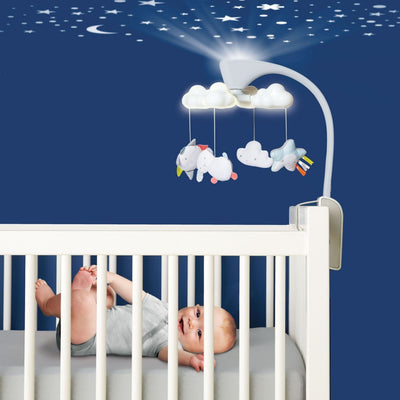 Skip Hop Moonlight & Melodies Clouds Projection Mobile projecting stars onto the ceiling