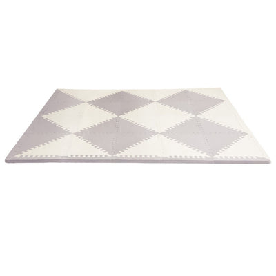 Skip Hop Playspot Geo Triangular Interlocking Foam Floor Tiles in Grey and Cream