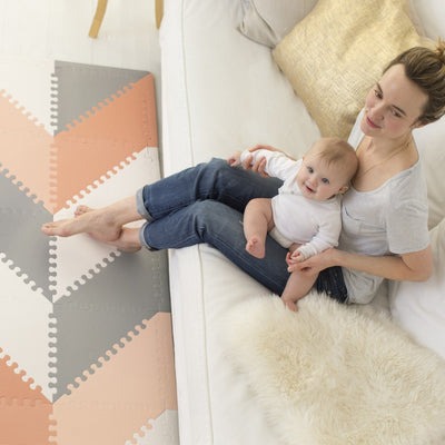 Skip Hop Playspot Geo Triangular Interlocking Foam Floor Tiles in Grey and Peach