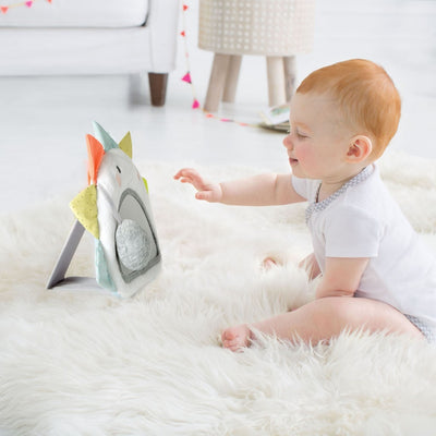 Baby playing with Skip Hop Silver Lining Cloud Activity Mirror
