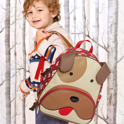 Boy with Skip Hop Winter Zoo Little Kid Backpack in Bulldog