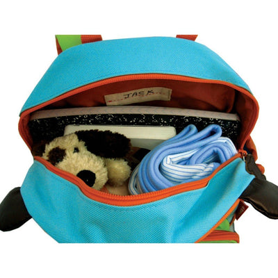 Skip Hop Zoo Pack Backpack in dog and zippered open with stuff inside