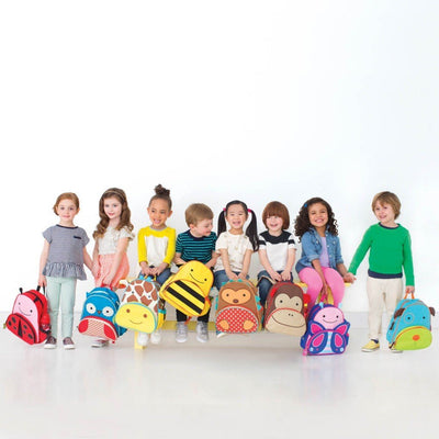 Children with Skip Hop Zoo Pack Backpacks in ladybug, bee, owl, hedgehog, monkey, butterfly and dog
