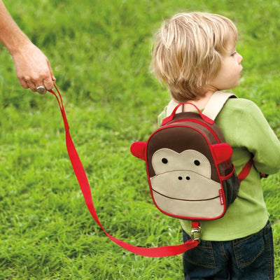 boy wearing Skip Hop Zoo Safety Harness in Monkey