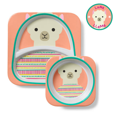 Skip Hop Zoo Tableware Melamine Plate & Bowl Set in Llama