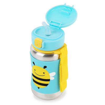Skip Hop Zoo Stainless Steel Straw Bottle in Bee top with Flipped Open