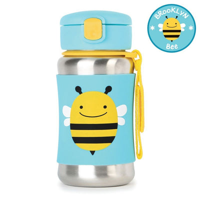 Skip Hop Zoo Stainless Steel Straw Bottle in Bee