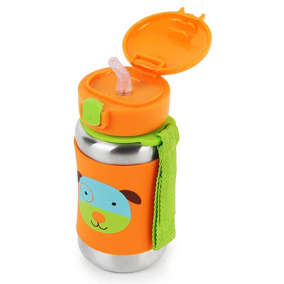 Skip Hop Zoo Stainless Steel Straw Bottle in Dog with top Flipped Open