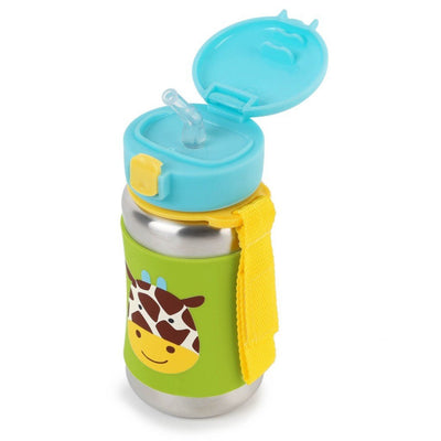 Skip Hop Zoo Stainless Steel Straw Bottle in Giraffe with Top Flipped Open