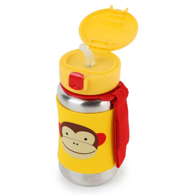 Skip Hop Zoo Stainless Steel Straw Bottle in Monkey top Flipped Open
