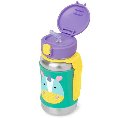 Skip Hop Zoo Stainless Steel Straw Bottle in Unicorn with top flipped open
