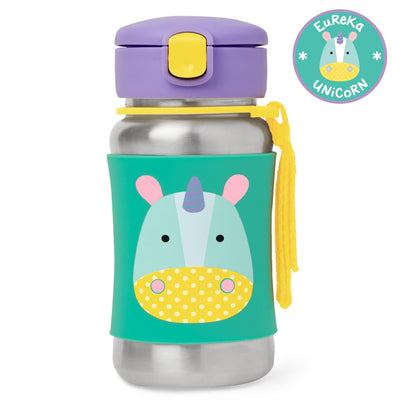 Skip Hop Zoo Stainless Steel Straw Bottle in Unicorn