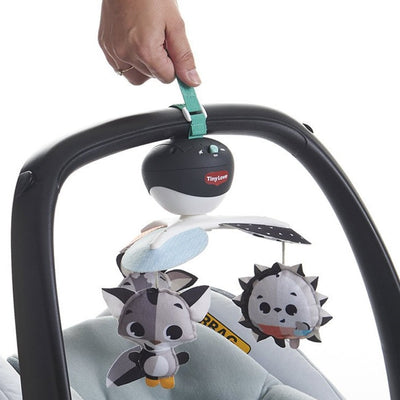 Tiny Love Magical Tales Black & White Take-Along Mobile attached to infant car seat