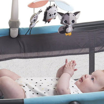 Tiny Love Magical Tales Black & White Take-Along Mobile attached to bassinet