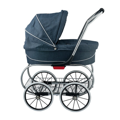 Valco Baby Princess Tailormade Doll Stroller in Denim Blue side view