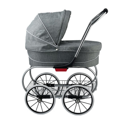 Valco Baby Princess Tailormade Doll Stroller in Grey Marle side view