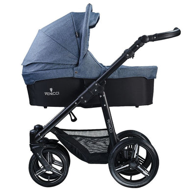 Venicci Soft 2 in 1 Stroller in Denim Blue with Carrycot attached