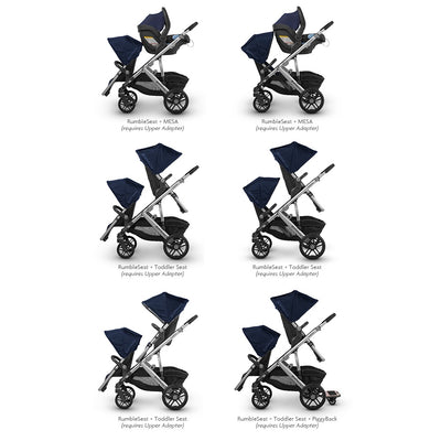 UPPAbaby VISTA 2018 RumbleSeat shown in multiple stroller configurations