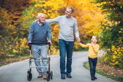 Father, Grandfather with walker, and granddaughter walking down street