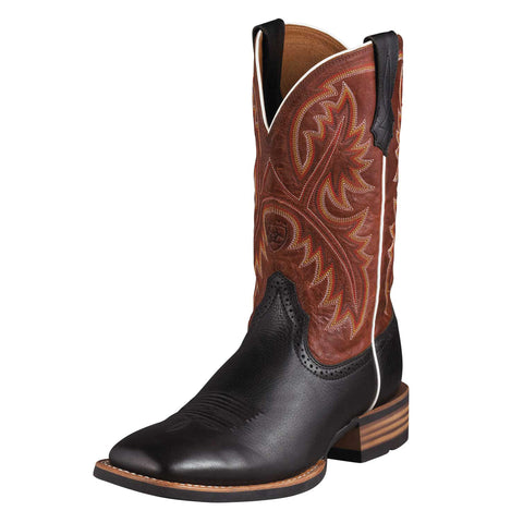 Ariat Black Deertan/Washed Adobe Mens Quickdraw Leather Western Boots