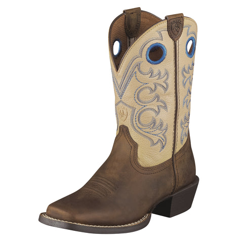 Ariat Distressed Brown/Cream Youth Crossfire Western Boots