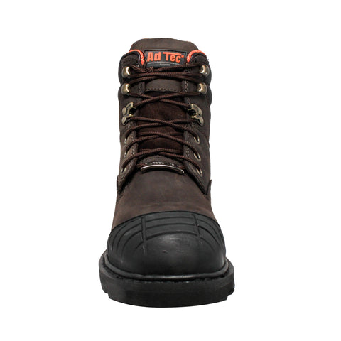 AdTec Mens Brown 6in Work Boots Oiled Leather Steel Toe