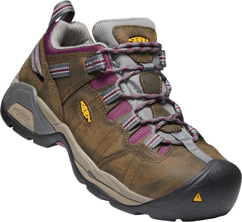 Keen Utility Brown/Amaranth Womens Detroit XT WP Leather Work Shoes