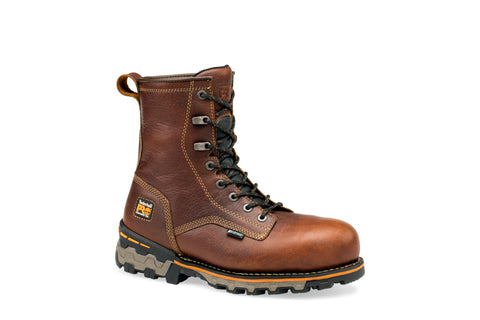 Timberland Pro Plain Toe 8In Boondock WP Mens Brown Leather Work Boots