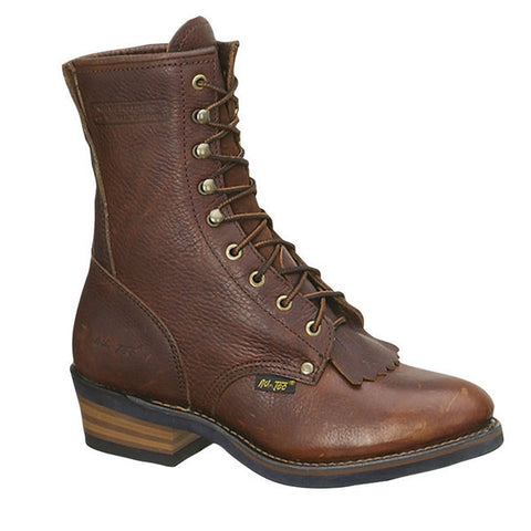 AdTec Mens Chestnut 9in Packer Full Grain Leather Work Boots