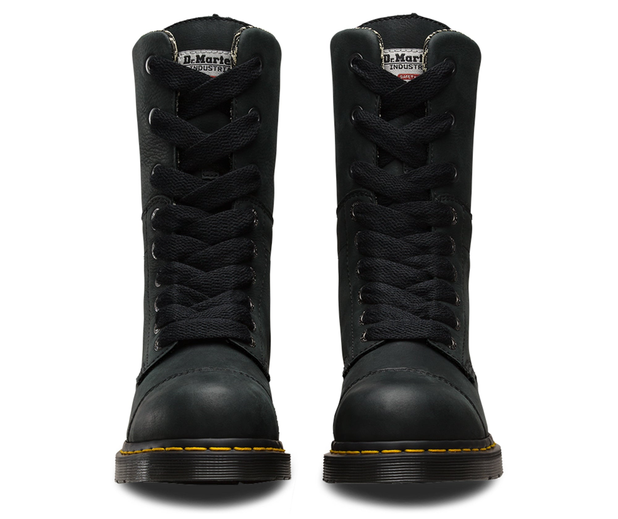 ... Dr Martens Black Womens Leah ST Wyoming Leather Work Boots ... 19f6fc61c1