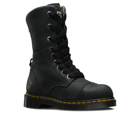 Dr Martens Black Womens Leah ST Wyoming Leather Work Boots