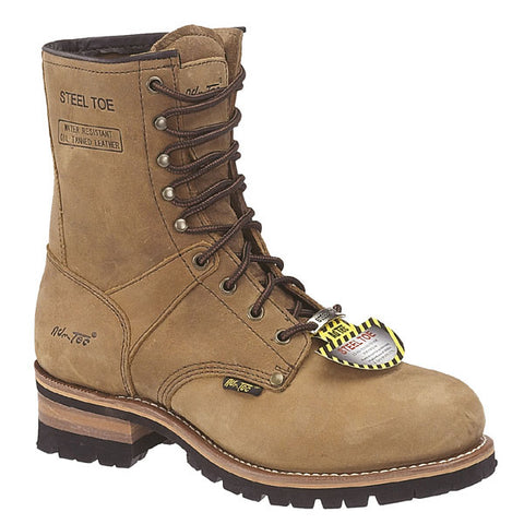 AdTec Mens Brown 9in Steel Toe Logger Crazy Horse Leather