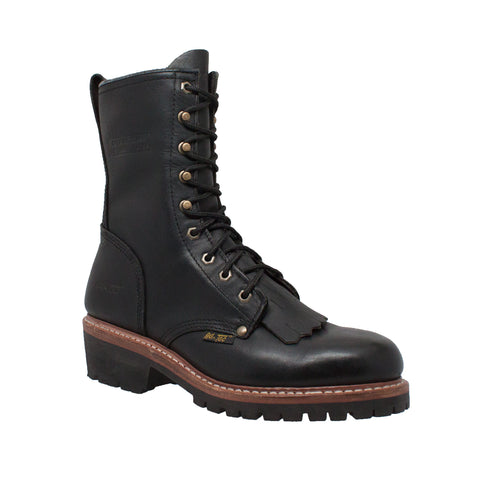 AdTec Mens Black 10in Fireman Logger Kiltie Leather Work Boots