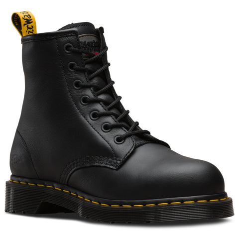 Dr Martens Black Womens Maple Zip ST Tumbled Leather Work Boots