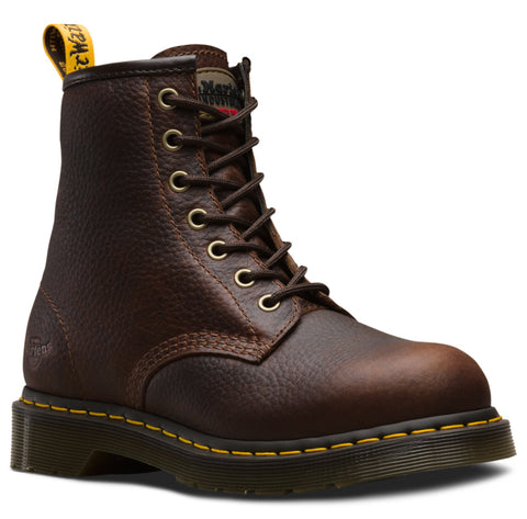 Dr Martens Teak Womens Maple Zip ST Tumbled Leather Work Boots