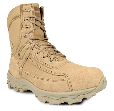 McRae Mens Desert Tan Suede/Nylon Military Tactical Boots
