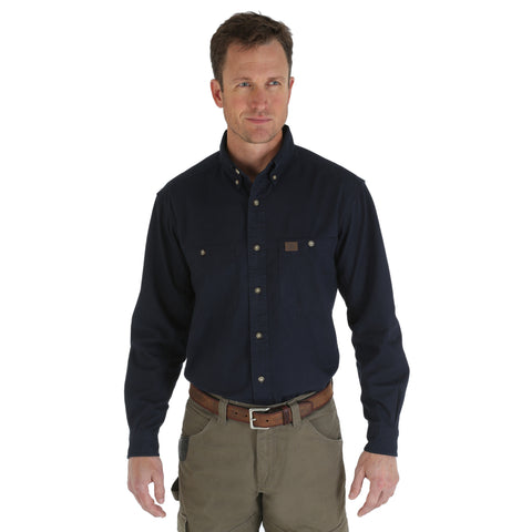 Wrangler Mens Navy 100% Cotton Logger L/S Shirt