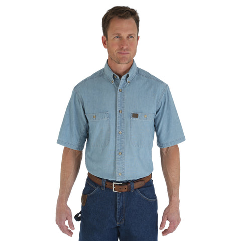 Wrangler Mens Light Blue 100% Cotton Chambray S/S Shirt