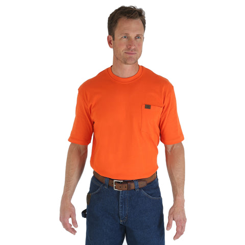 Wrangler Mens Safety Orange 100% Cotton S/S T-Shirt